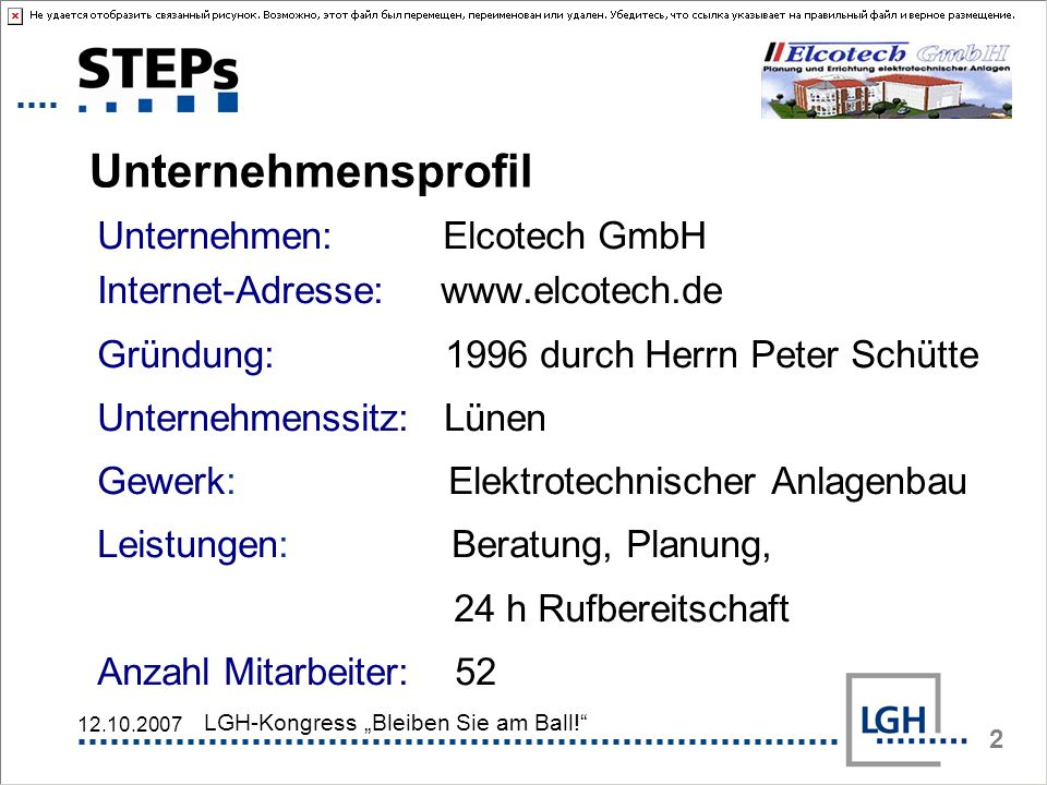 UnternehmensprofilUnternehmen: Elcotech GmbH Internet-Adresse: www.elcotech.de. Gründung: 1996 durch Herrn Peter Schütte.