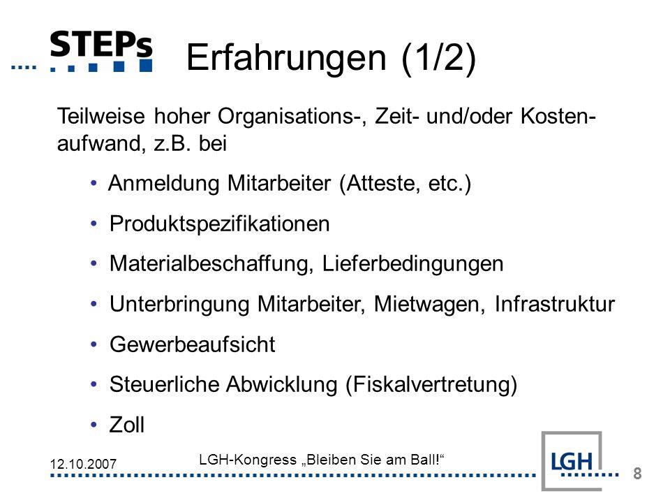 Erfahrungen (1/2) Teilweise hoher Organisations-, Zeit- und/oder Kosten-aufwand, z.B. bei. Anmeldung Mitarbeiter (Atteste, etc.)