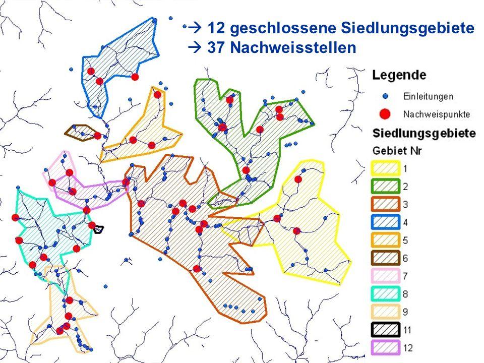  12 geschlossene Siedlungsgebiete