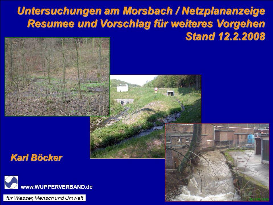Untersuchungen am Morsbach / Netzplananzeige Resumee und Vorschlag für weiteres Vorgehen Stand 12.2.2008