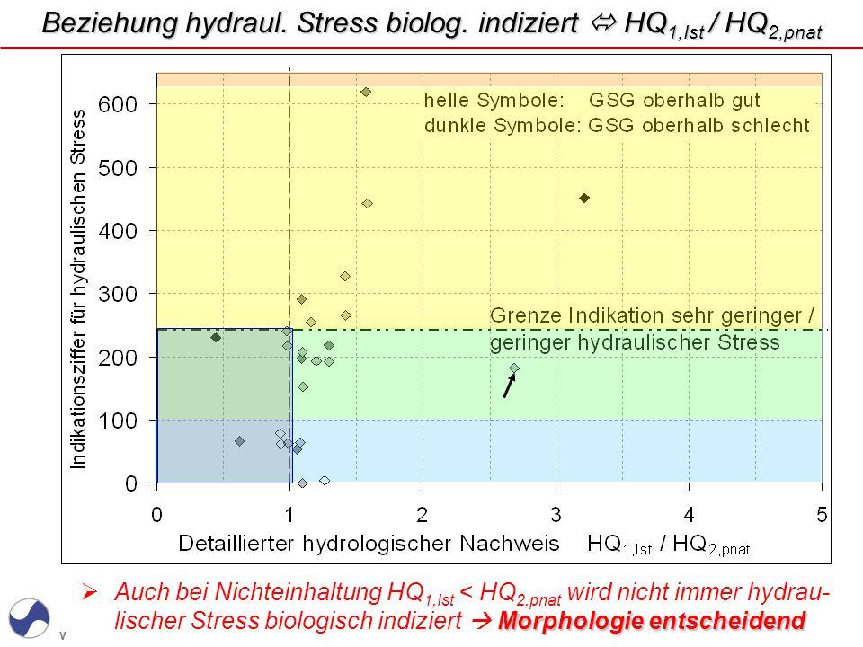 Beziehung hydraul. Stress biolog. indiziert  HQ1,Ist / HQ2,pnat