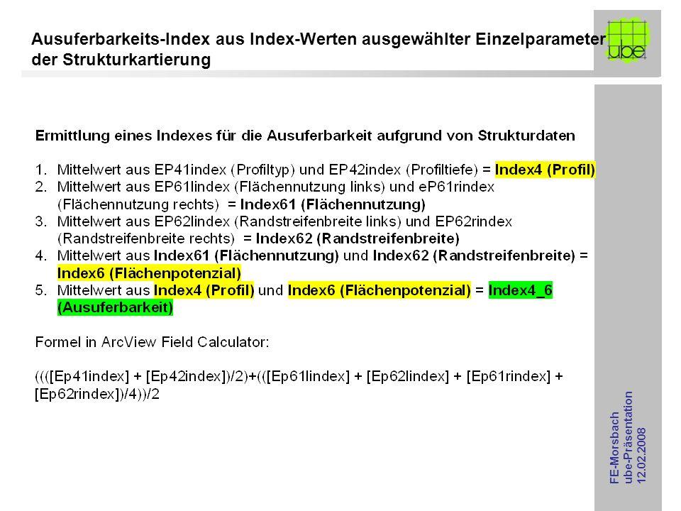 Ausuferbarkeits-Index aus Index-Werten ausgewählter Einzelparameter der Strukturkartierung