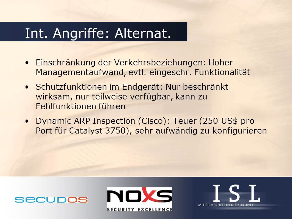 Int. Angriffe: Alternat.