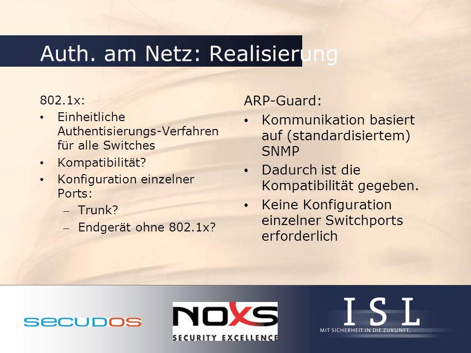 Auth. am Netz: Realisierung