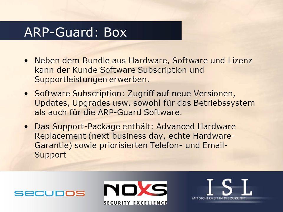 ARP-Guard: Box Neben dem Bundle aus Hardware, Software und Lizenz kann der Kunde Software Subscription und Supportleistungen erwerben.
