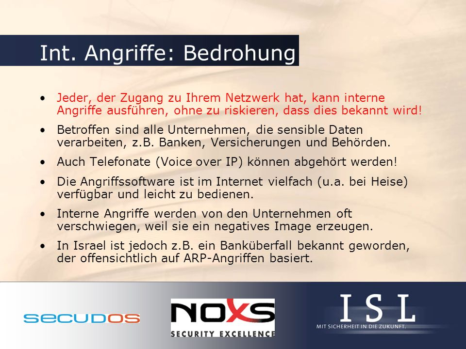 Int. Angriffe: Bedrohung