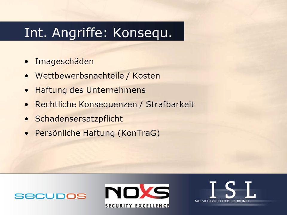 Int. Angriffe: Konsequ. Imageschäden Wettbewerbsnachteile / Kosten
