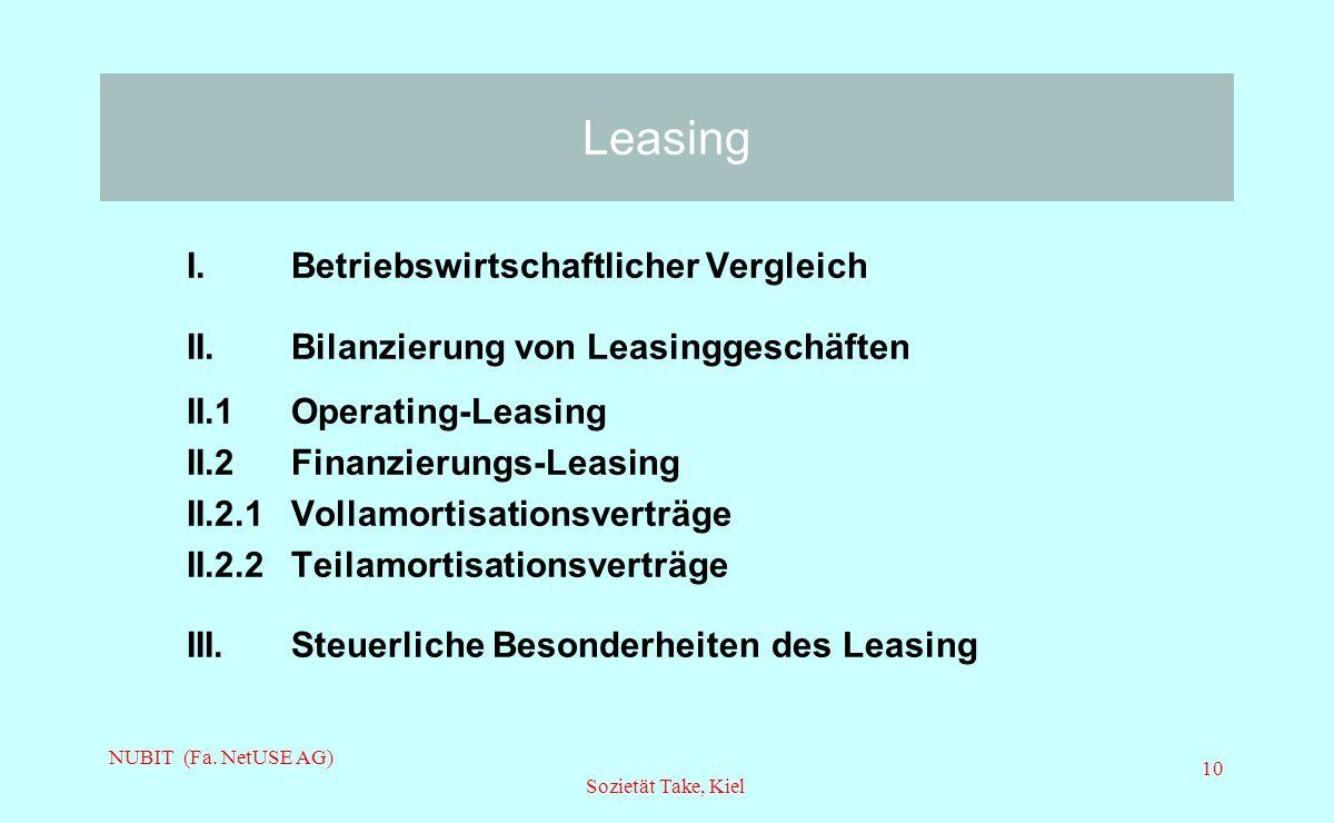 Leasing I. Betriebswirtschaftlicher Vergleich