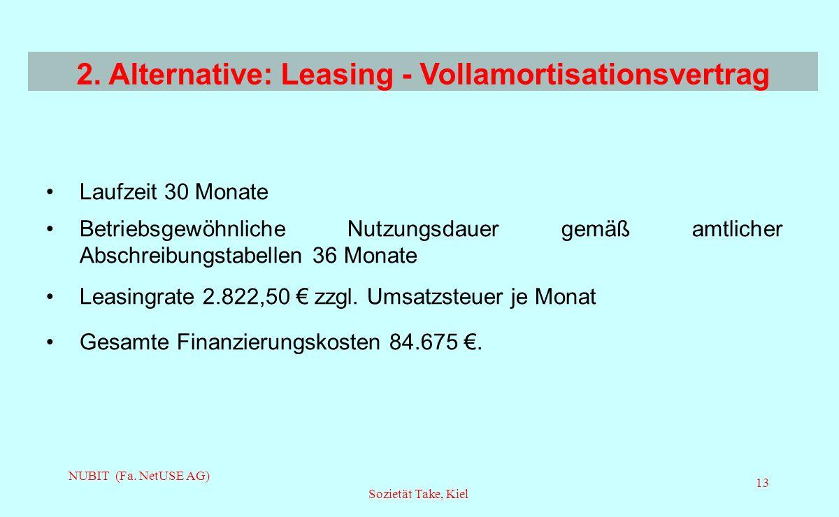 2. Alternative: Leasing - Vollamortisationsvertrag
