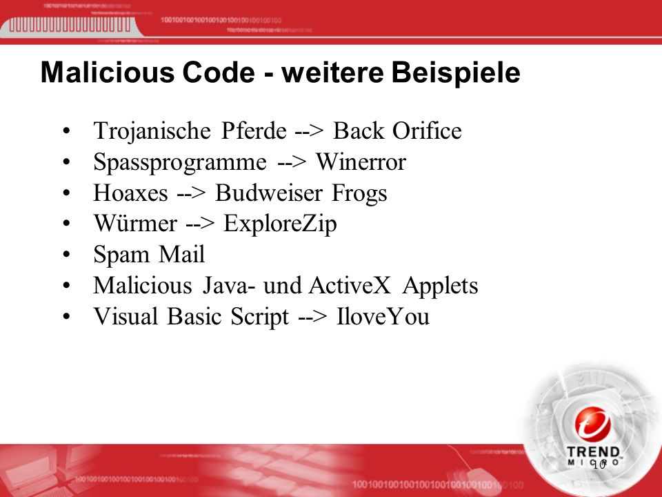 Malicious Code - weitere Beispiele