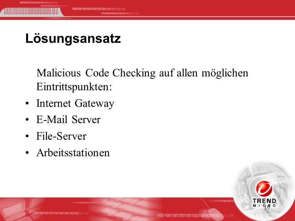 Lösungsansatz Malicious Code Checking auf allen möglichen Eintrittspunkten: Internet Gateway. E-Mail Server.