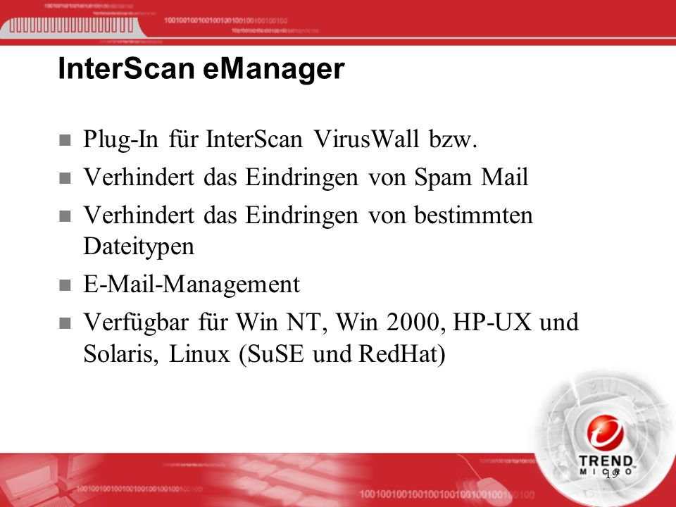 InterScan eManager Plug-In für InterScan VirusWall bzw.