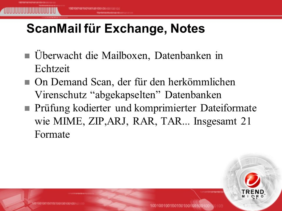 ScanMail für Exchange, Notes