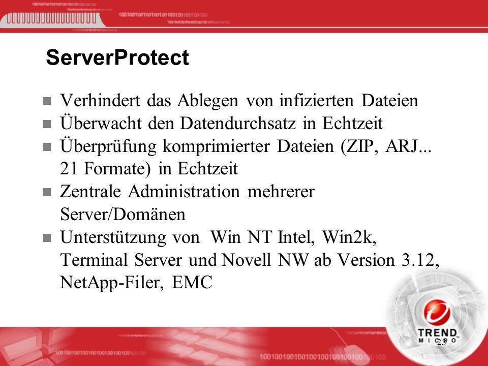 ServerProtect Verhindert das Ablegen von infizierten Dateien