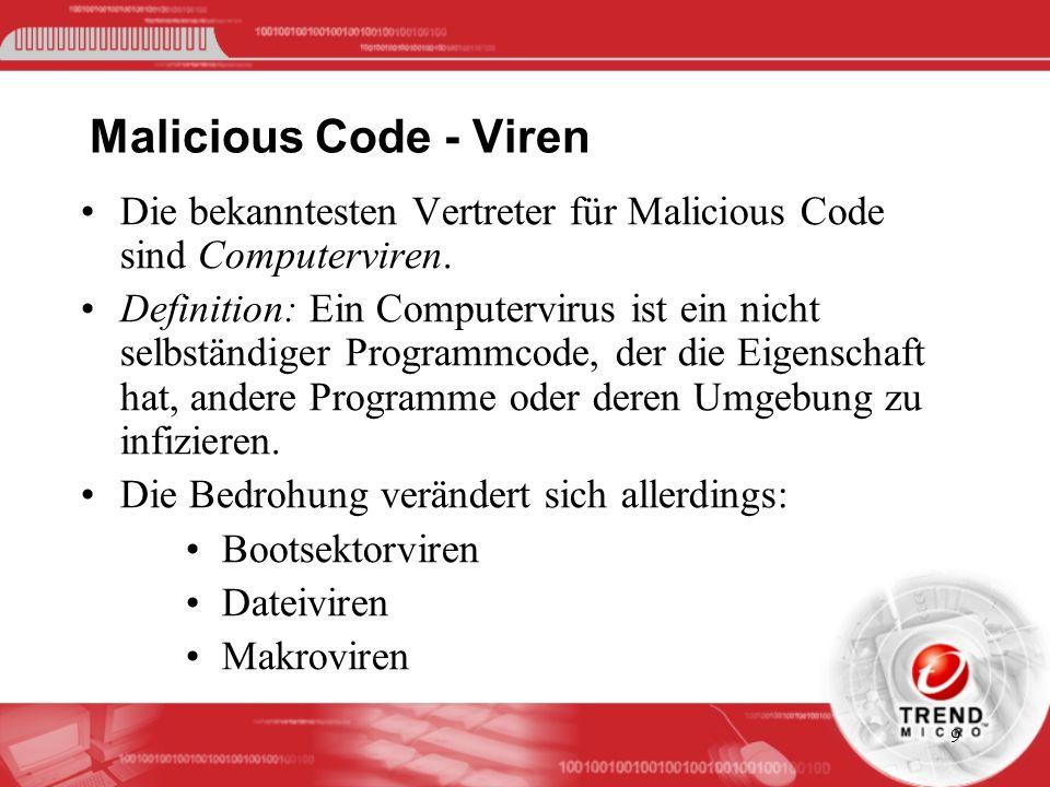 Malicious Code - Viren Die bekanntesten Vertreter für Malicious Code sind Computerviren.
