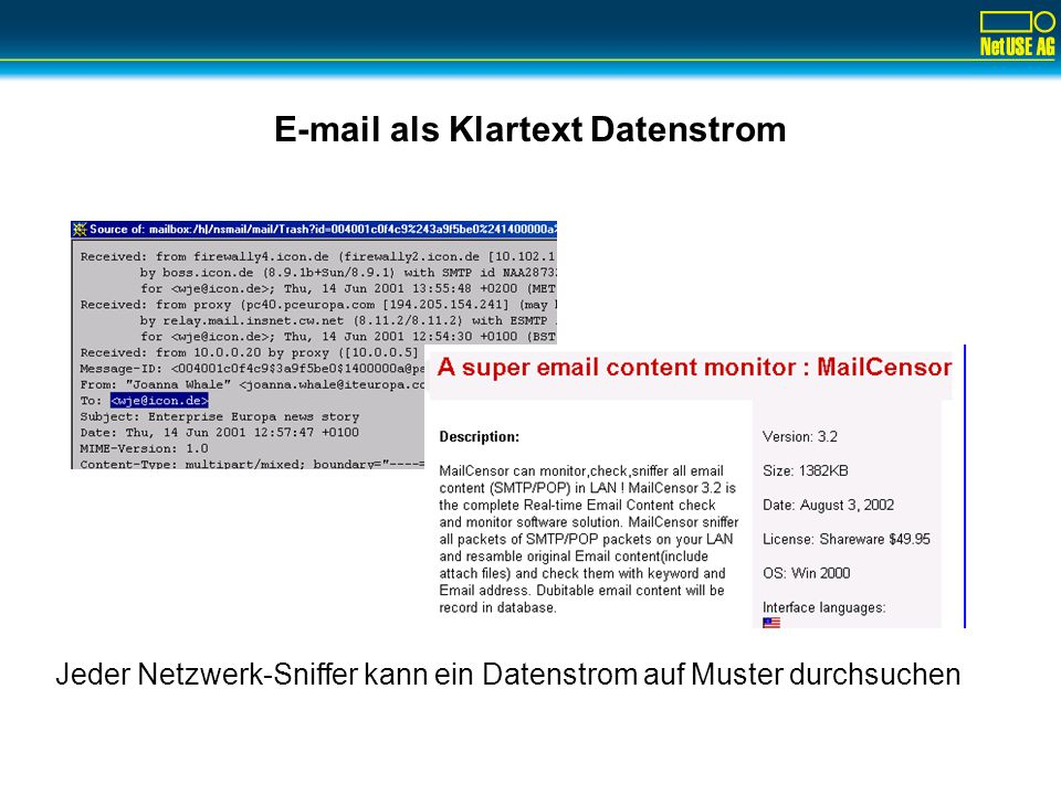 E-mail als Klartext Datenstrom