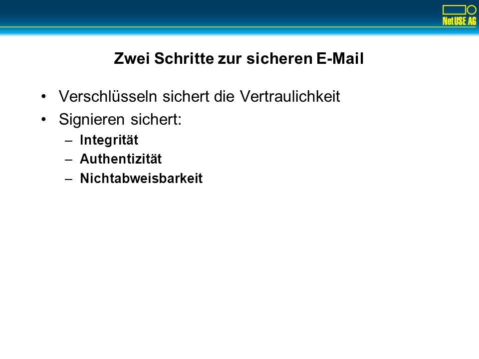 Zwei Schritte zur sicheren E-Mail
