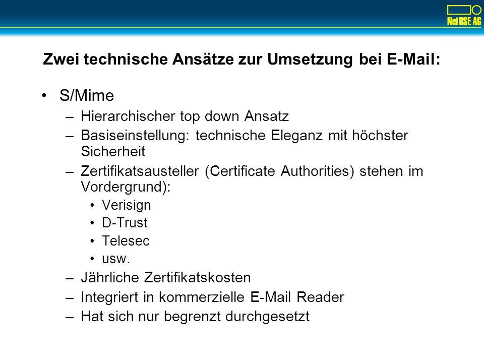 Zwei technische Ansätze zur Umsetzung bei E-Mail: