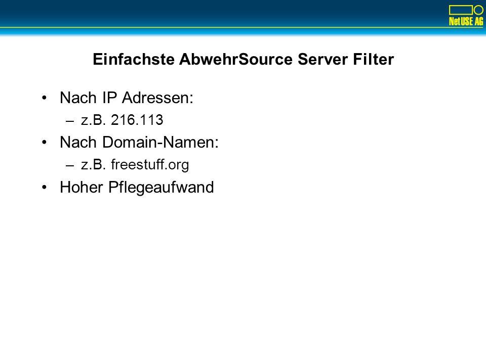 Einfachste AbwehrSource Server Filter