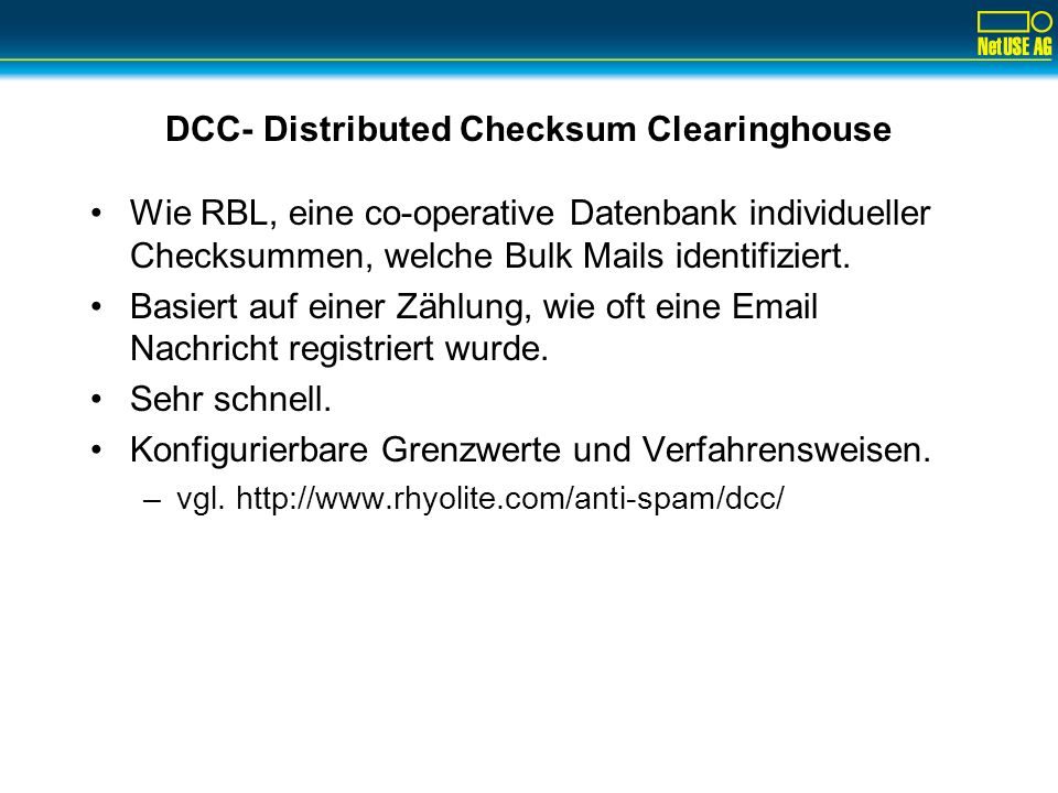 DCC- Distributed Checksum Clearinghouse
