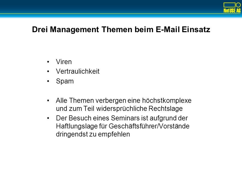 Drei Management Themen beim E-Mail Einsatz