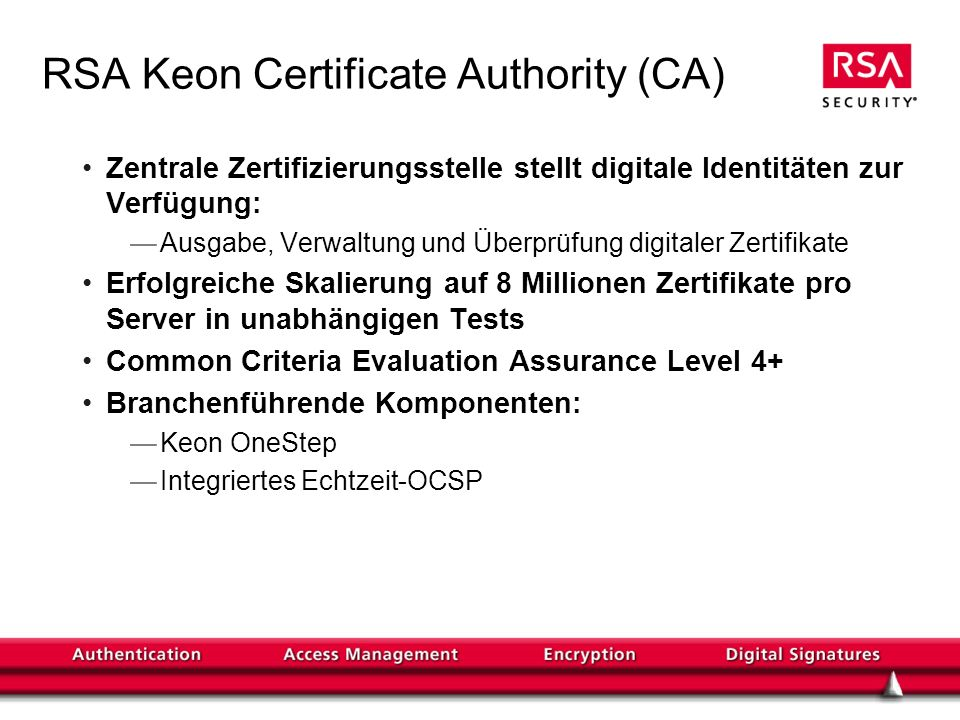 RSA Keon Certificate Authority (CA)
