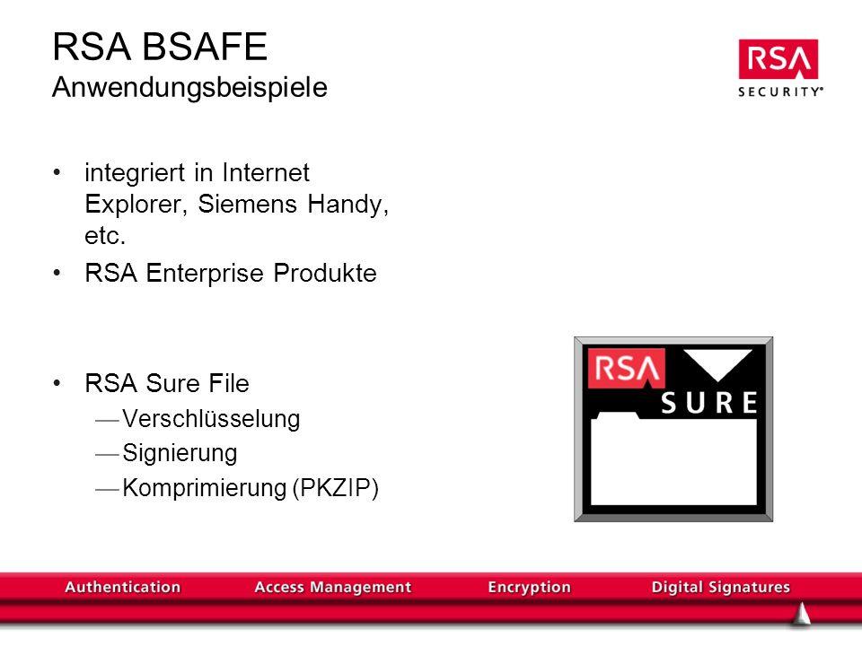 RSA BSAFE Anwendungsbeispiele