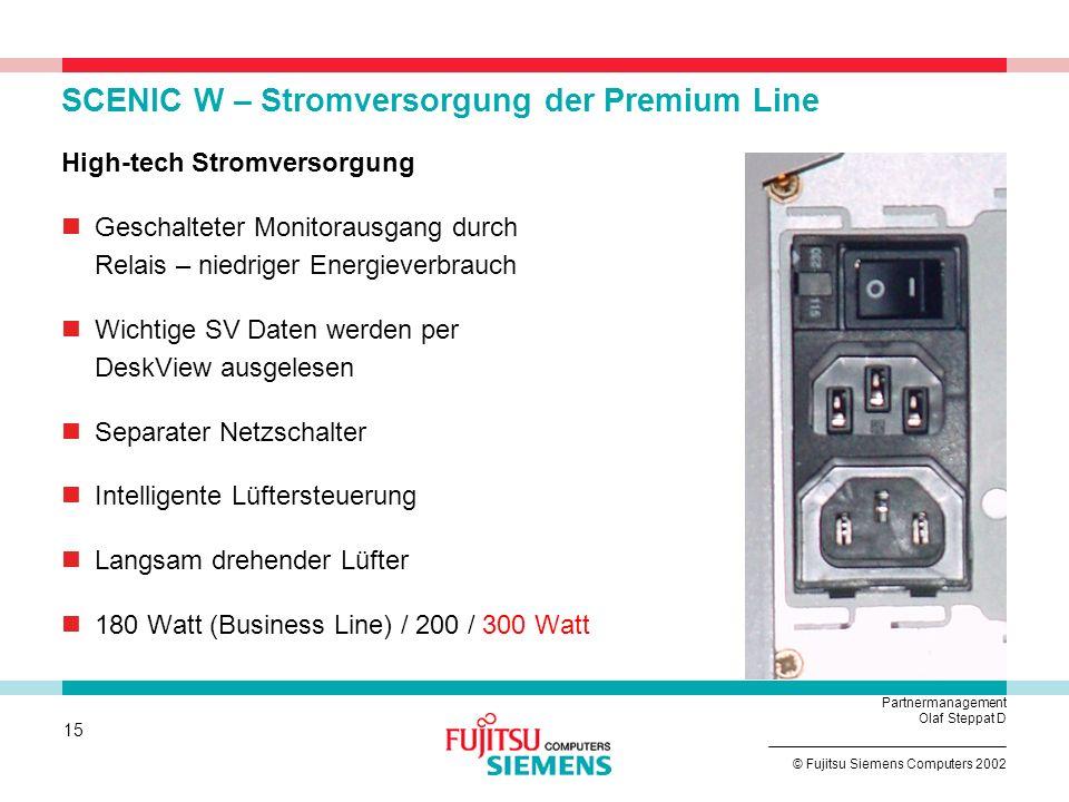 SCENIC W – Stromversorgung der Premium Line