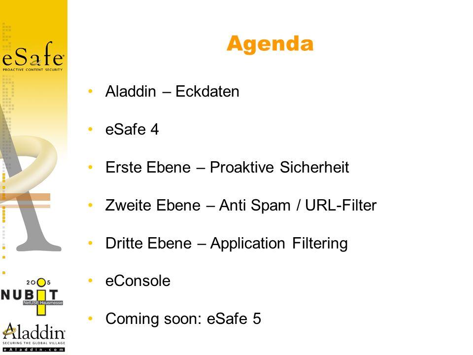 Agenda Aladdin – Eckdaten eSafe 4 Erste Ebene – Proaktive Sicherheit