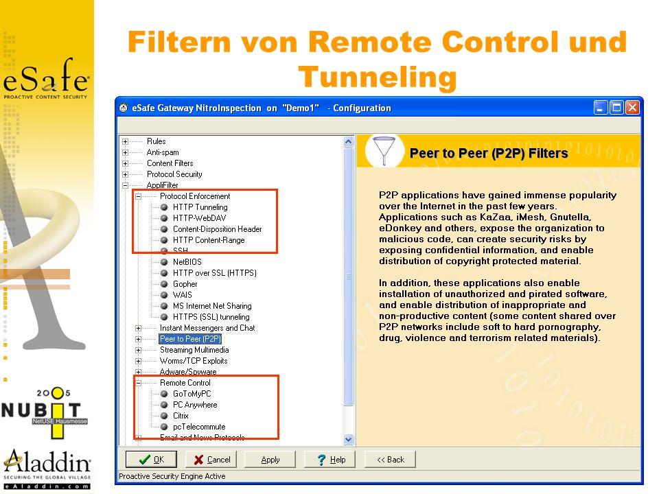 Filtern von Remote Control und Tunneling