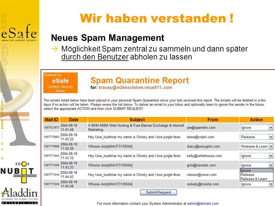 Wir haben verstanden ! Neues Spam Management