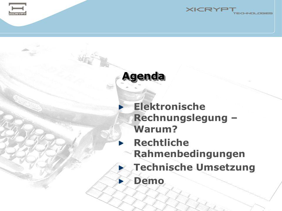 Agenda Elektronische Rechnungslegung – Warum