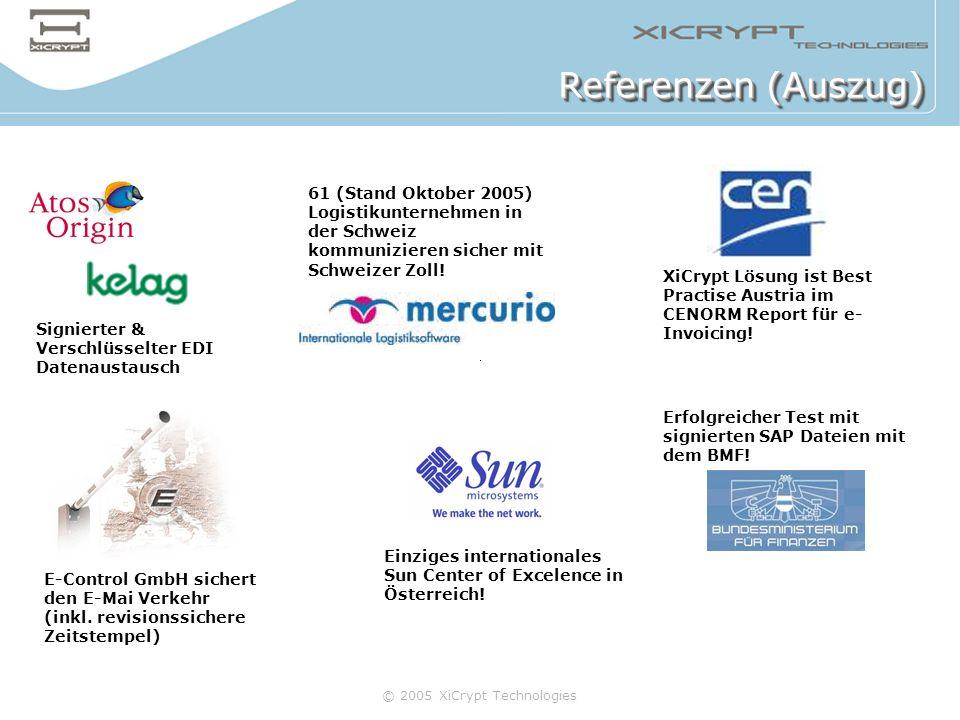 Referenzen (Auszug) 61 (Stand Oktober 2005) Logistikunternehmen in der Schweiz kommunizieren sicher mit Schweizer Zoll!