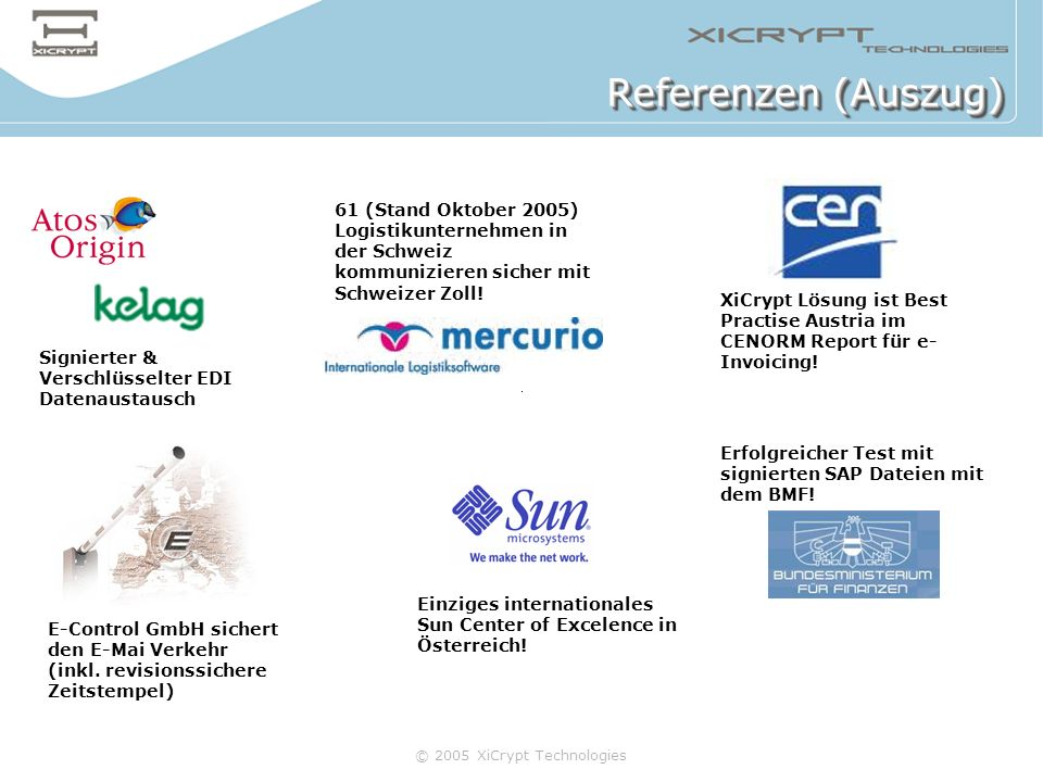 Referenzen (Auszug)61 (Stand Oktober 2005) Logistikunternehmen in der Schweiz kommunizieren sicher mit Schweizer Zoll!