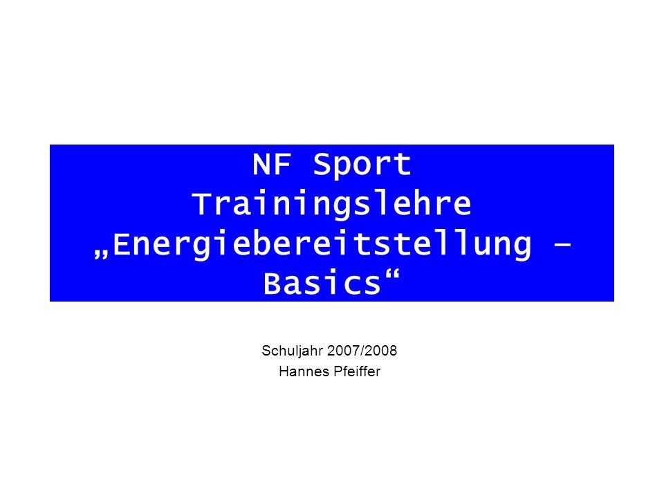 """NF Sport Trainingslehre """"Energiebereitstellung – Basics"""