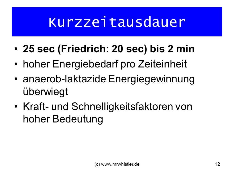 Kurzzeitausdauer 25 sec (Friedrich: 20 sec) bis 2 min