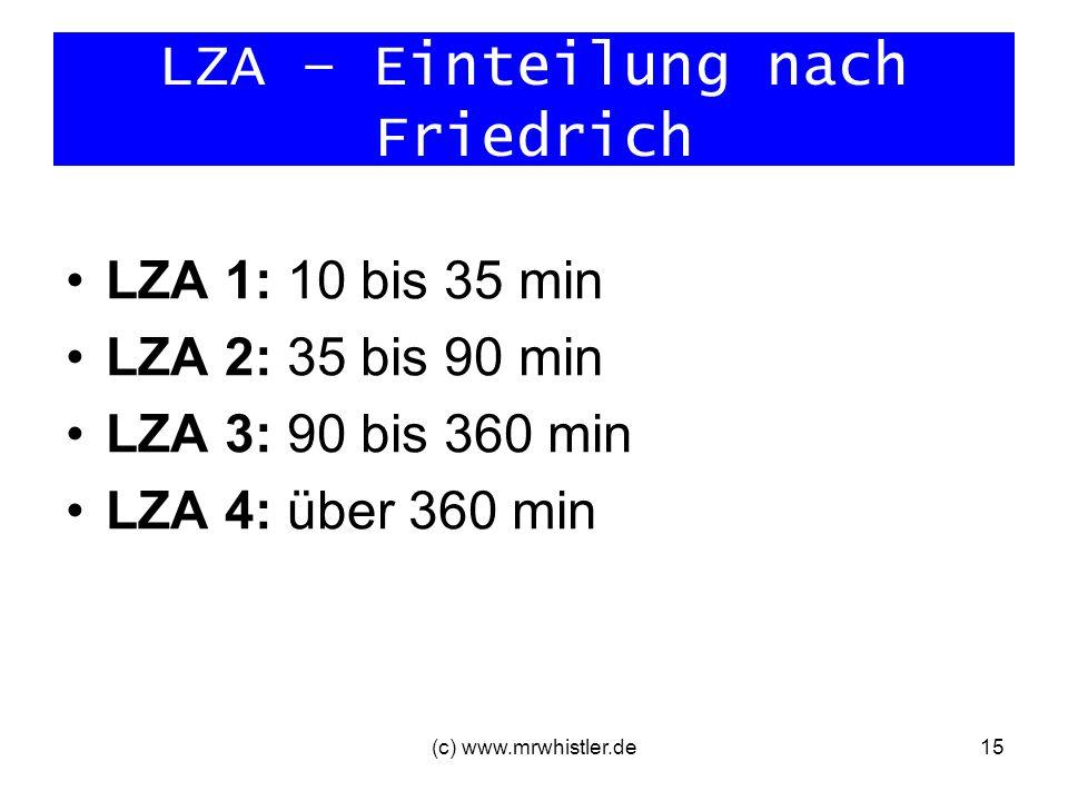 LZA – Einteilung nach Friedrich