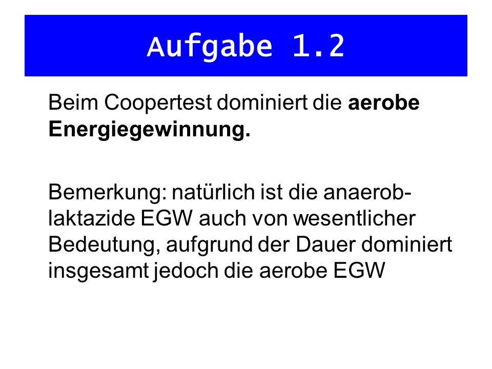Aufgabe 1.2 Beim Coopertest dominiert die aerobe Energiegewinnung.