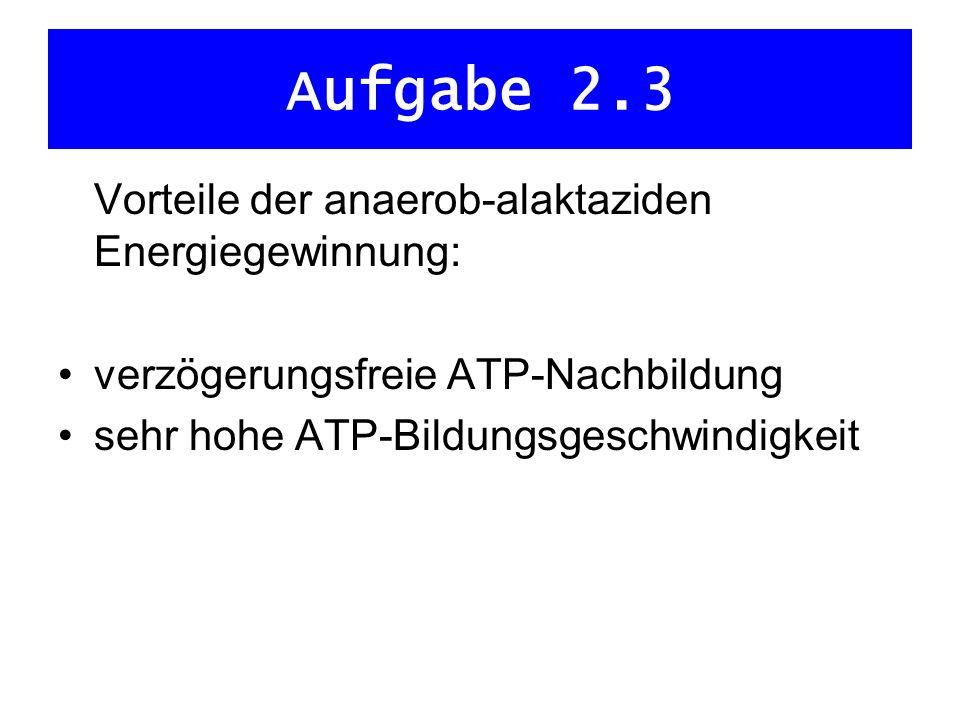 Aufgabe 2.3 Vorteile der anaerob-alaktaziden Energiegewinnung: