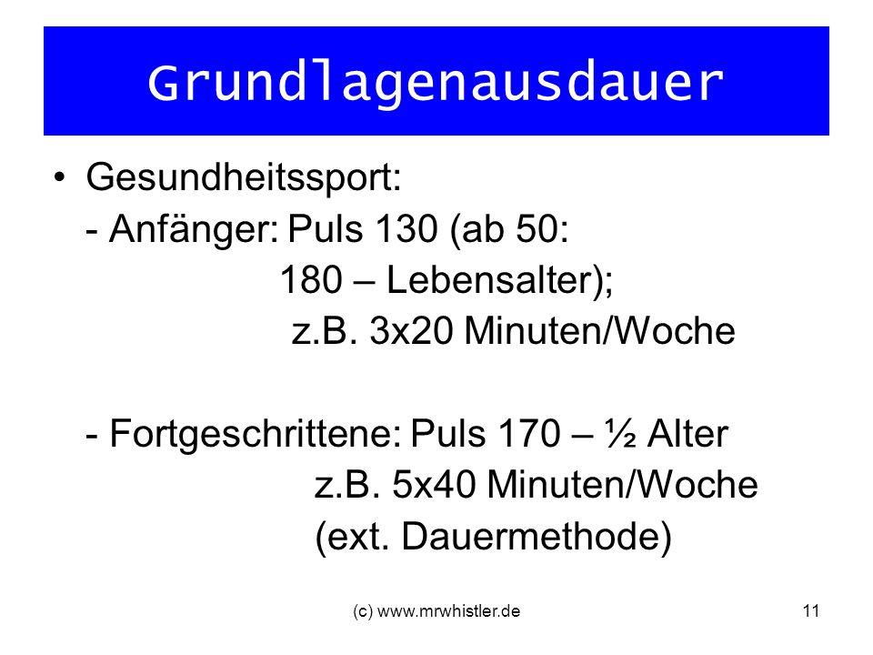 Grundlagenausdauer Gesundheitssport: - Anfänger: Puls 130 (ab 50: