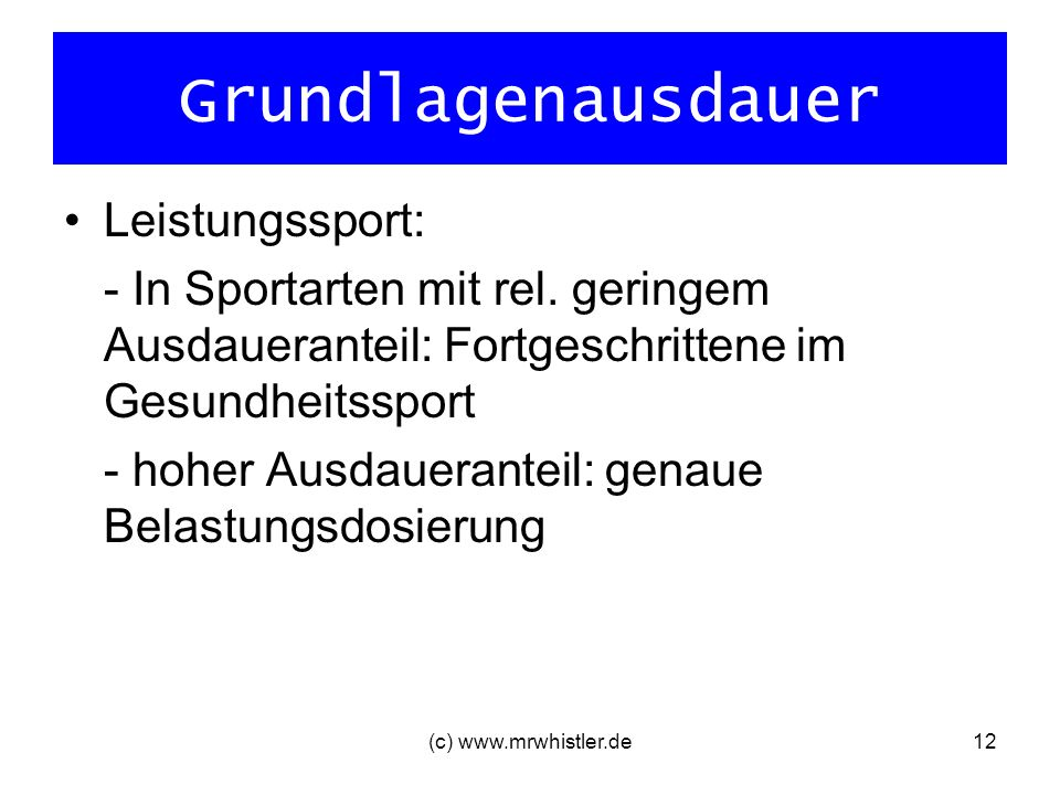Grundlagenausdauer Leistungssport: