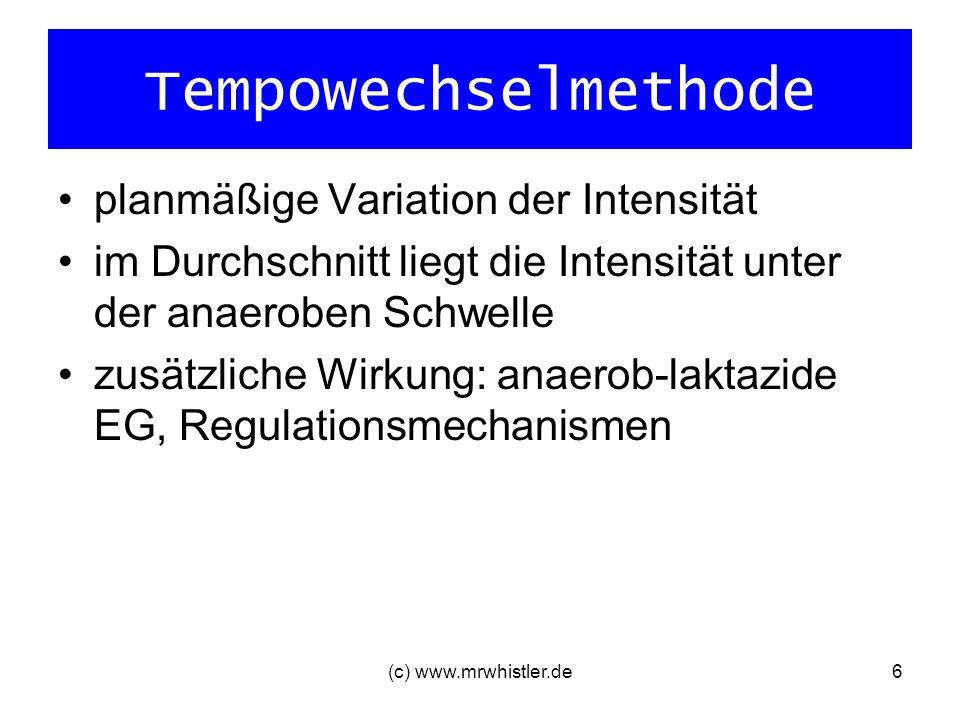 Tempowechselmethode planmäßige Variation der Intensität