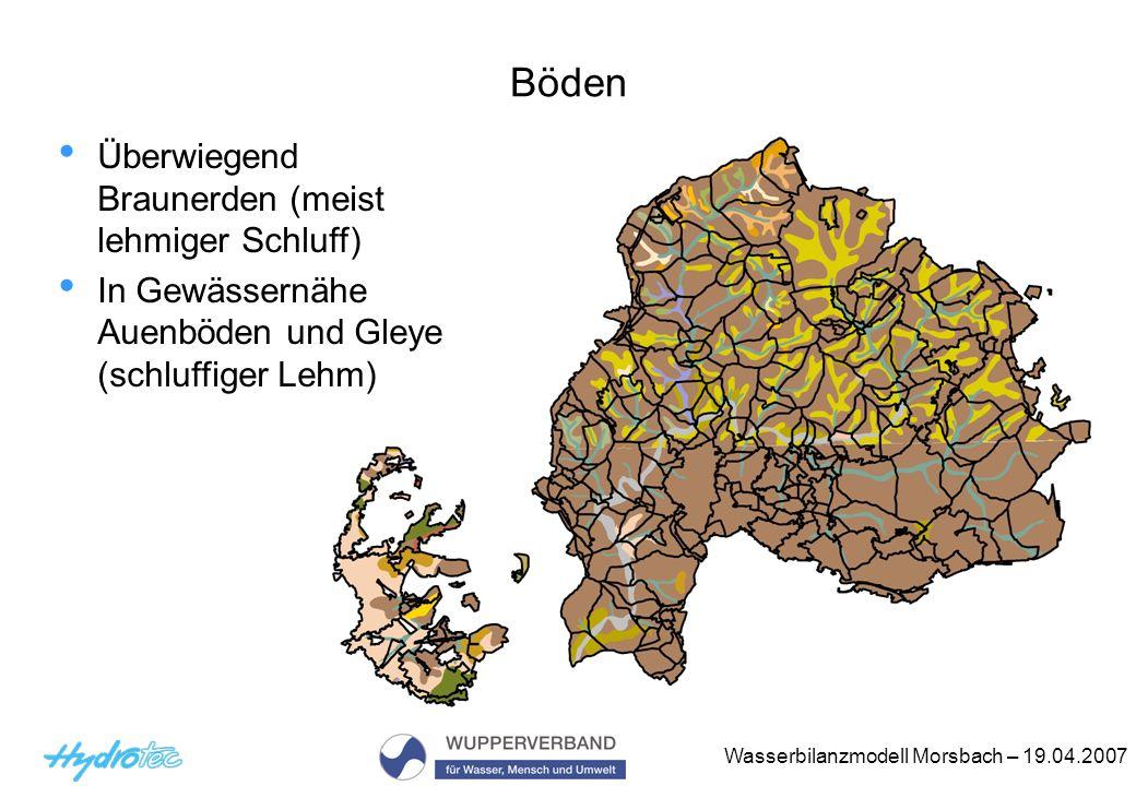 Böden Überwiegend Braunerden (meist lehmiger Schluff)