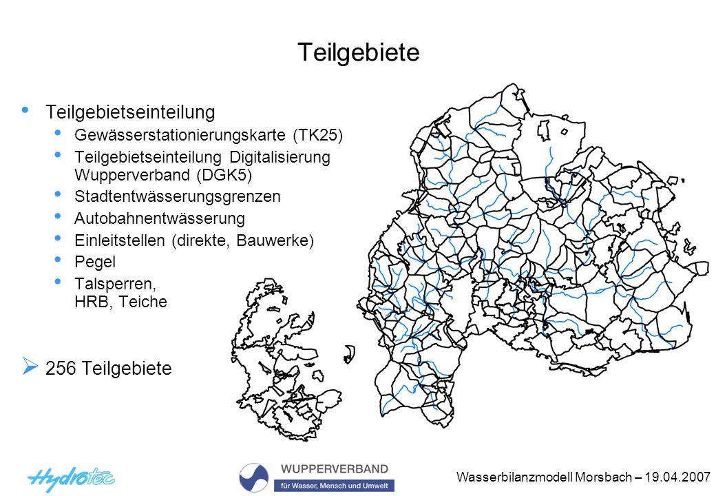 Teilgebiete Teilgebietseinteilung 256 Teilgebiete