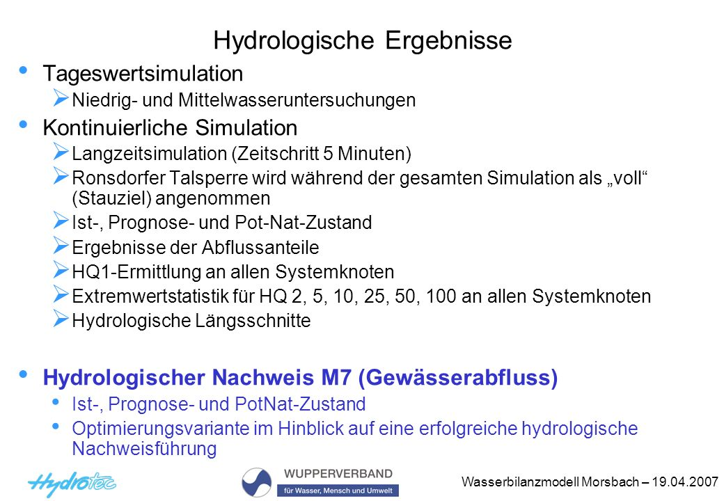 Hydrologische Ergebnisse