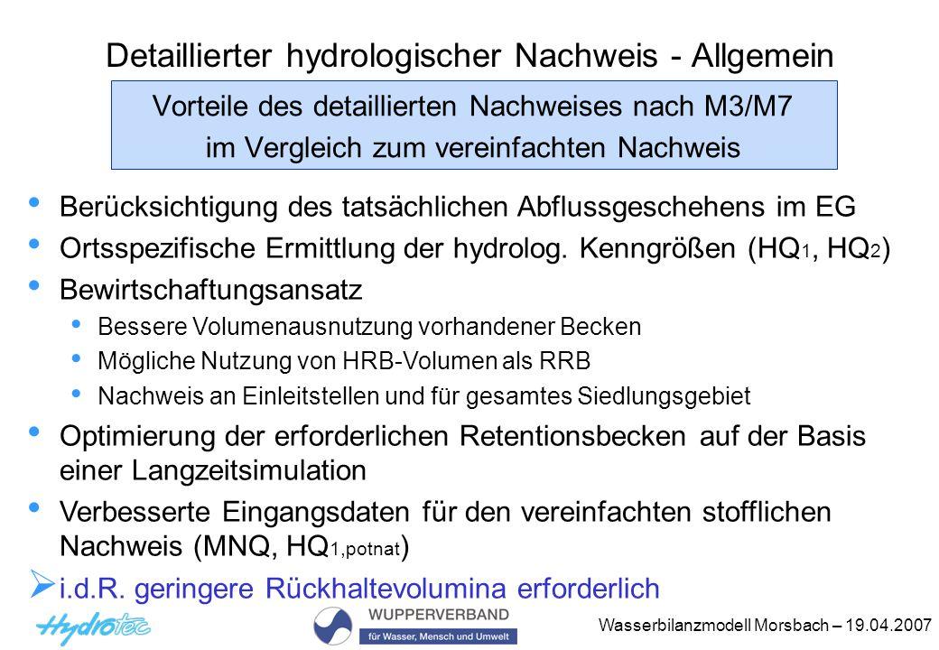Detaillierter hydrologischer Nachweis - Allgemein