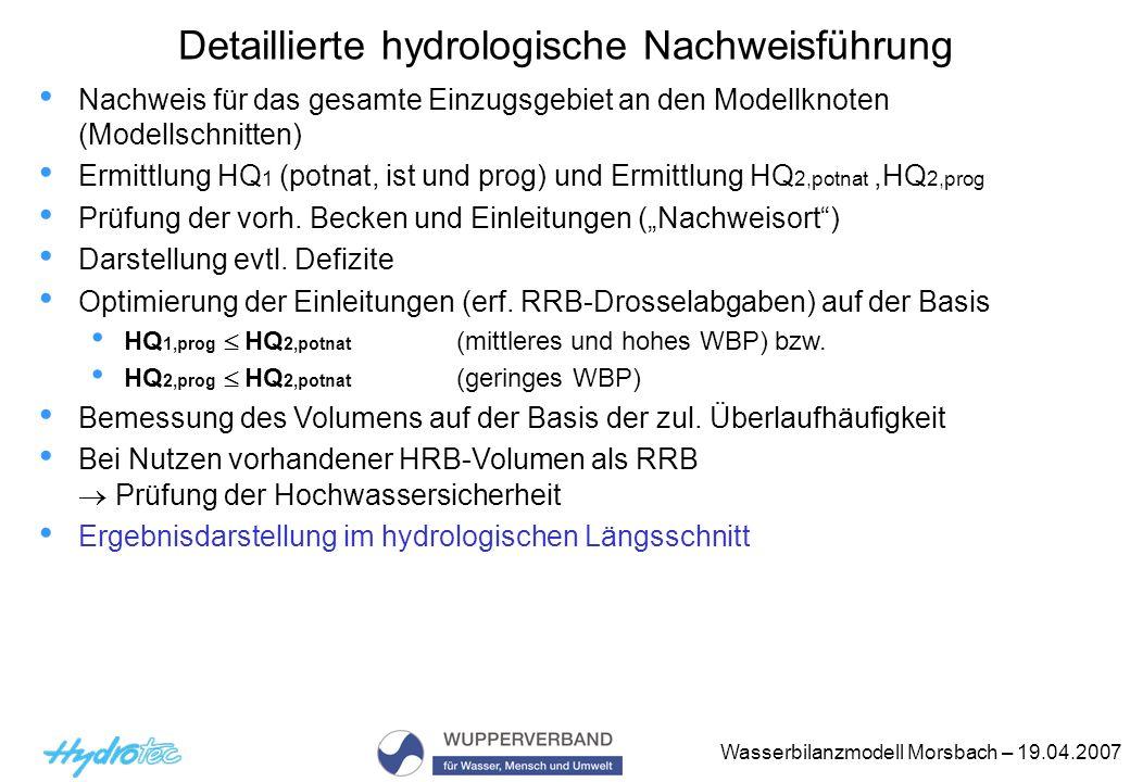 Detaillierte hydrologische Nachweisführung