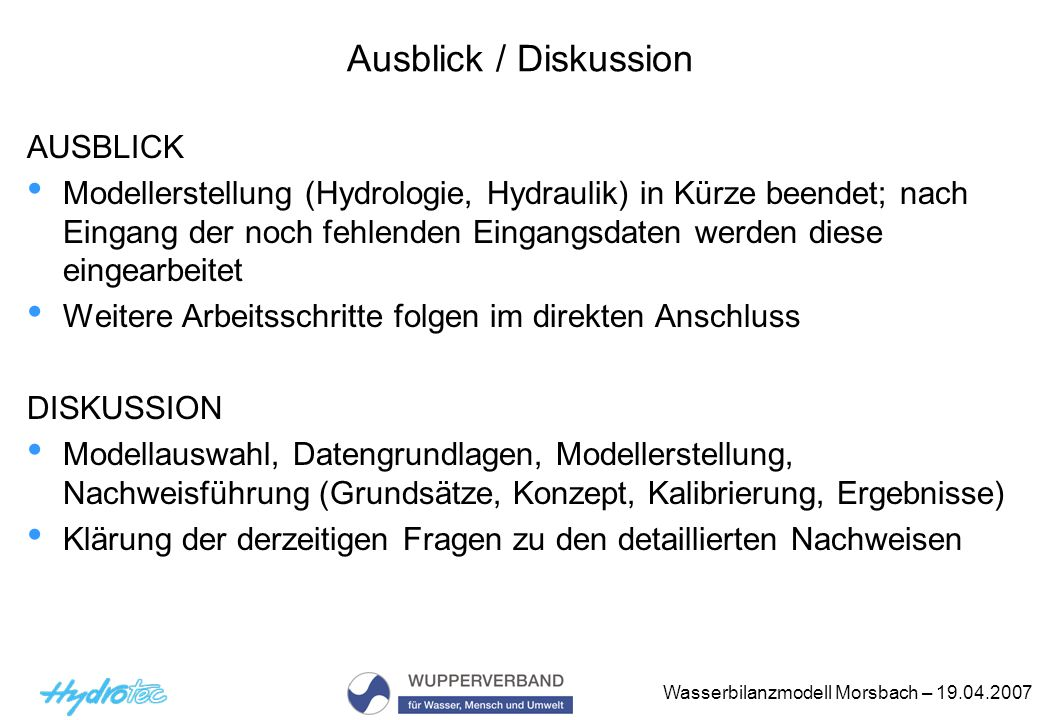 Ausblick / Diskussion AUSBLICK