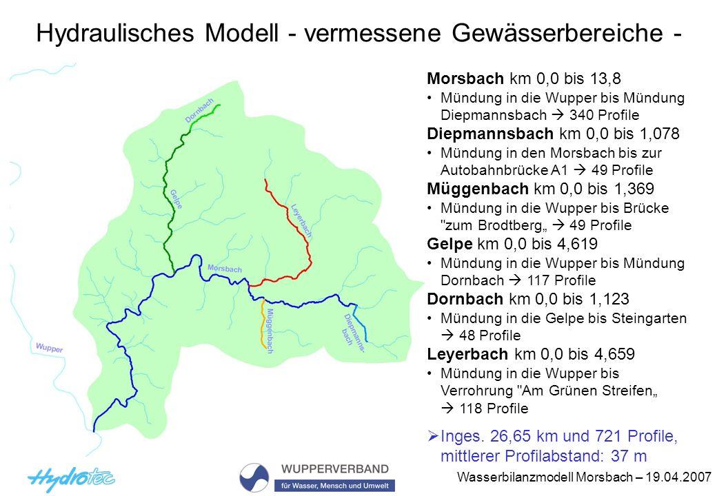 Hydraulisches Modell - vermessene Gewässerbereiche -