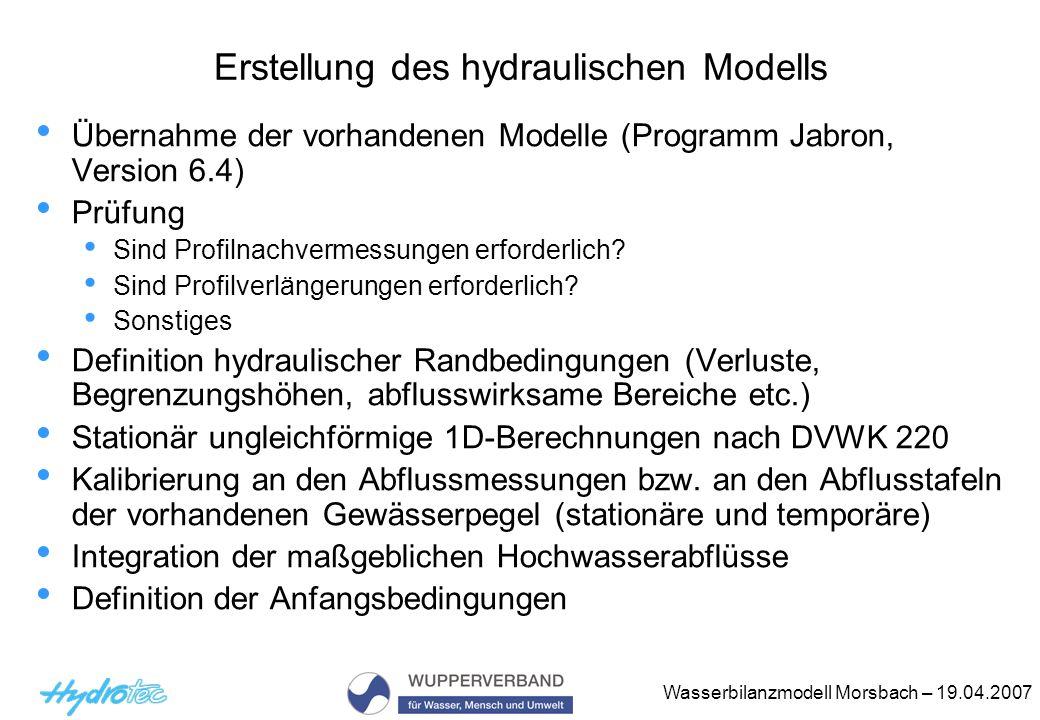 Erstellung des hydraulischen Modells